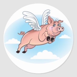 When Pigs Fly, Fun Happens Round Sticker
