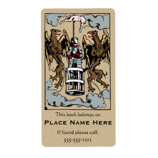 When Pigs Fly Medieval Woodcut Bookplate Label