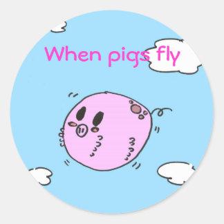 When Pigs Fly Round Sticker