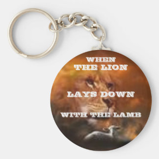 WHEN THE LION LAYS DOWN WITH THE LAMB BASIC ROUND BUTTON KEYCHAIN
