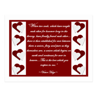 When Two Souls... Victor Hugo Quote Postcard