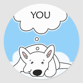 Whenever I Think Of You Smiling White Shepherd Pup Classic Round Sticker