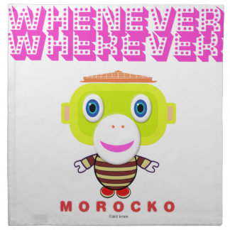 Whenever Wherever-Cute Monkey-Morocko Napkin