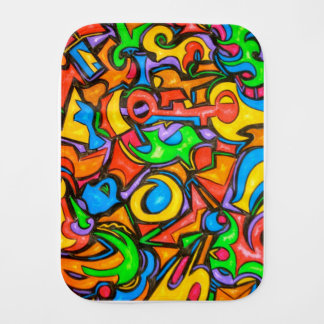 Where Did You Hide The Candy?-Abstract Art Burp Cloth