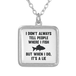 Where I Fish Silver Plated Necklace