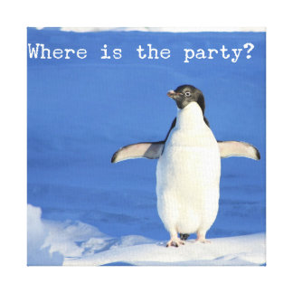 Where is the party? - funny penguin canvas gallery wrap canvas