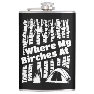 Where My Birches At, Tent Camping Graphic Hip Flask