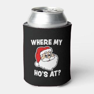 Where my Ho's at Funny Christmas Santa can cooler