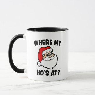 Where my Ho's at Funny Christmas Santa coffee mug