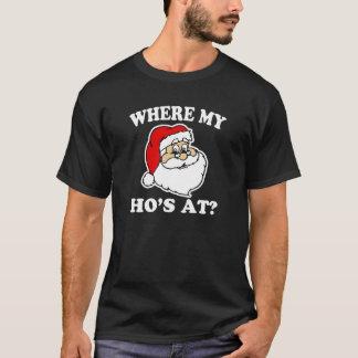 Where my Ho's at? funny Santa Christmas shirt