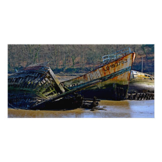 Where old boats retire customized photo card