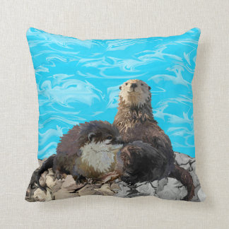 Where the River Meets the Sea Otters Throw Pillow