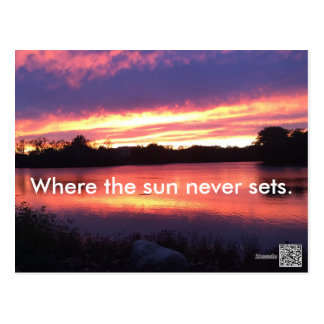 Where the sun never sets postcard