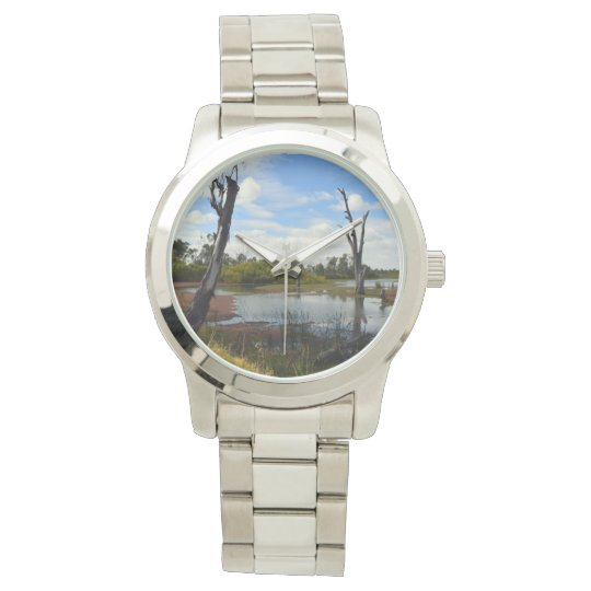 Where Wildlife Play,  Large Silver Unisex Watch. Watch