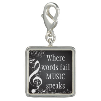 Where Words Fail Music Speaks Inspirational Quote Charm