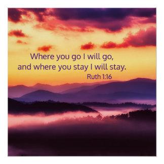 Where You Go Art Print Bible Verse Mountain Image