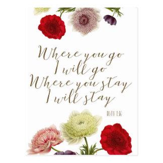 Where you go i will go scripture quote postcard