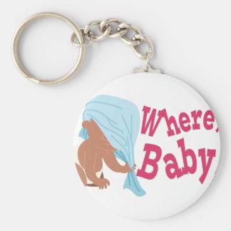 Where's Baby? Basic Round Button Keychain