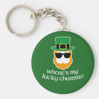 Where's My Lucky Charms? St Patrick Day Leprechaun Keychain