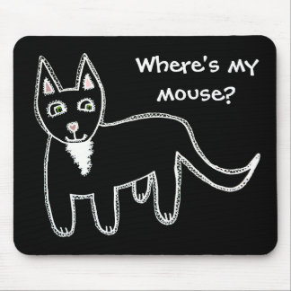 Where's my mouse? Black Cat Mouse Pad