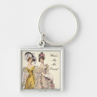 Where's My Mr. Darcy? Silver-Colored Square Keychain