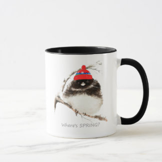 Where's Spring Funny Sarcastic Watercolor Junco Mug