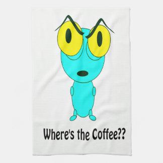 Where's the Coffee, Alien Cartoon Kitchen Towel