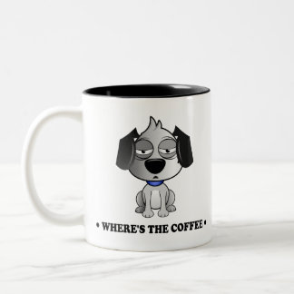 'Where's The Coffee' Fluff Dog two tone black mug