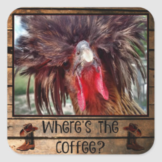 Where's The Coffee with Polish Chicken Square Sticker