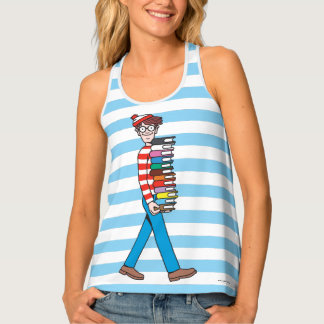 Where's Waldo Carrying Stack of Books Tank Top