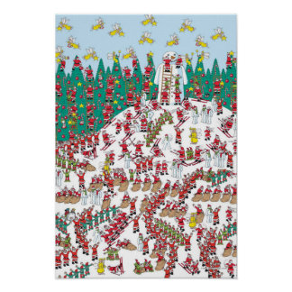 Where's Waldo | Holiday Fairies & Sledding Santas Poster