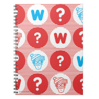 Where's Waldo Red, White and Blue Pattern Spiral Notebooks