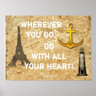 Wherever You Go - Confucius Quote - Art Print