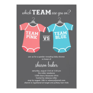 "Which Team? Gender Revealing Baby Shower 5"" X 7"" Invitation Card"