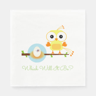 Which Will It Be Baby Bird Gender Reveal Shower Napkin