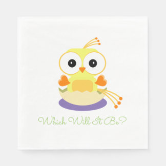 Which Will It Be Baby Bird Gender Reveal Shower Paper Napkin