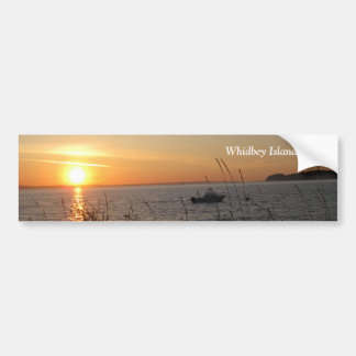 Whidbey Island Sunset with Text Bumper Sticker