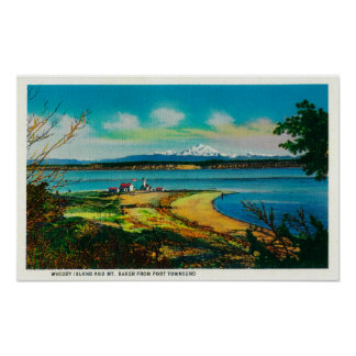 Whidby Island and Mt. Baker from Port Townsend Poster