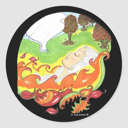 While my lady sleeps autumn leaves fall/stickers