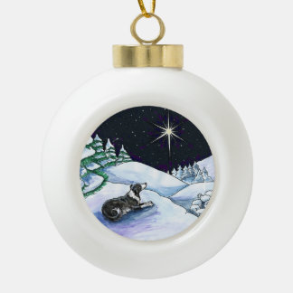 While Shepherds watched ornament...Blk & Wht ES Ceramic Ball Christmas Ornament