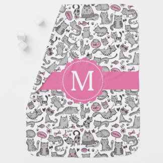 Whimiscal Pink and Gray Cartoon Cat Gift Ideas Baby Blanket