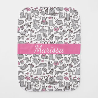 Whimiscal Pink and Gray Cartoon Cat Gift Ideas Baby Burp Cloth