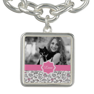 Whimiscal Pink and Gray Cartoon Cat Gift Ideas Bracelet
