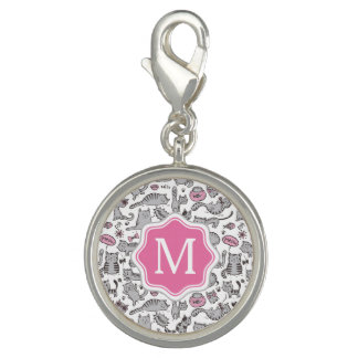 Whimiscal Pink and Gray Cartoon Cat Gift Ideas Charm