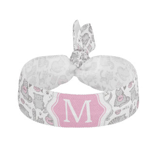 Whimiscal Pink and Gray Cartoon Cat Gift Ideas Hair Tie