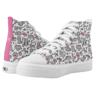 Whimiscal Pink and Gray Cartoon Cat Gift Ideas High Tops