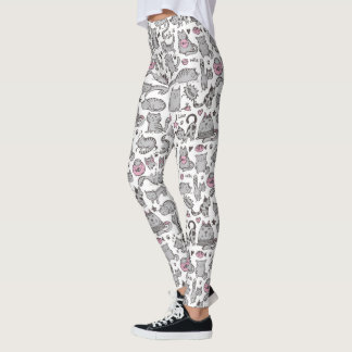 Whimiscal Pink and Gray Cartoon Cat Gift Ideas Leggings