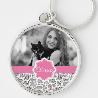 Whimiscal Pink and Gray Cartoon Cat Gift Ideas Silver-Colored Round Keychain