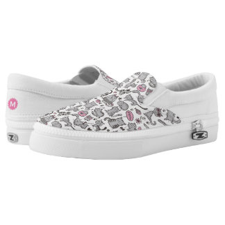 Whimiscal Pink and Gray Cartoon Cat Gift Ideas Slip-On Sneakers