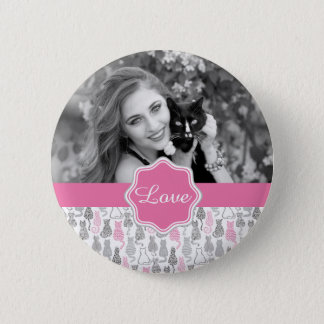 Whimiscal Pink and Gray Sketch Cat Gift Ideas 2 Inch Round Button